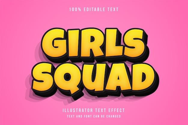 Escuadrón de chicas, efecto de texto editable 3d estilo de texto cómico de gradación amarilla