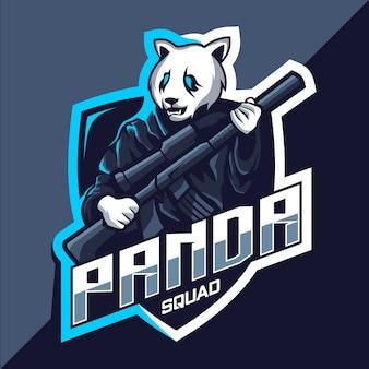 Escuadrón de panda con diseño de logotipo de esport de mascota de pistola