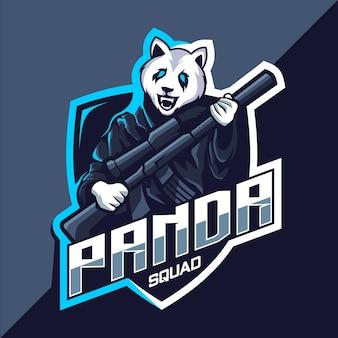 Escuadrón panda con diseño de logotipo de esport de mascota de pistola