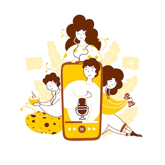 Escuchando podcast hobby ilustración plana amarilla