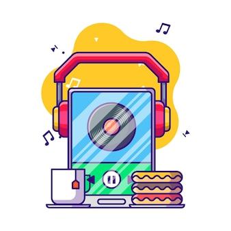 Escuchar música con la ilustración de dibujos animados de auriculares