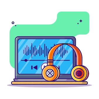 Escuchar podcast en la computadora portátil con la ilustración de dibujos animados de auriculares