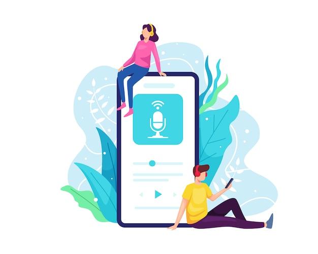 Escuche podcast con teléfono inteligente