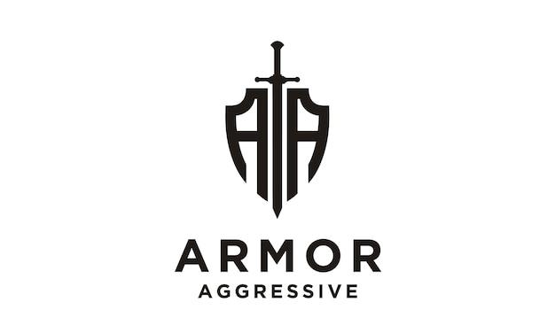 Escudo / armadura / logotipo inicial de aa