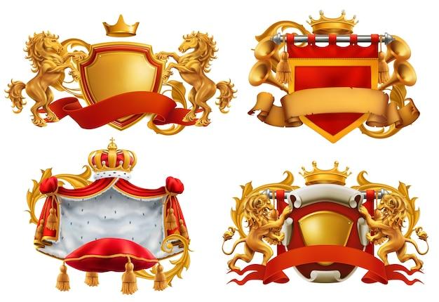 Escudo de armas real. rey y reino.