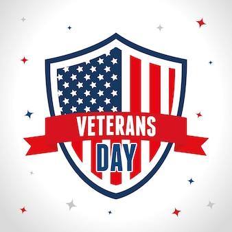 Escudo con bandera de estados unidos en el día de los veteranos