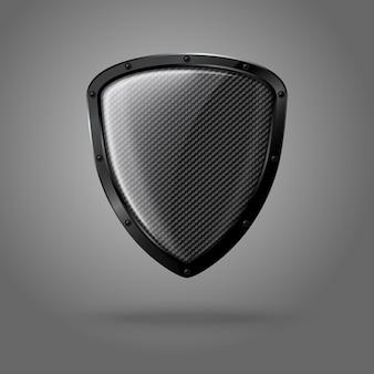 Escudo brillante realista en blanco con textura de carbono y borde negro.