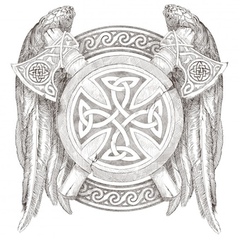 Escudo celta y dos hachas con alas. escudo de armas de los vikingos con un adorno nacional. lápiz de dibujo a mano.