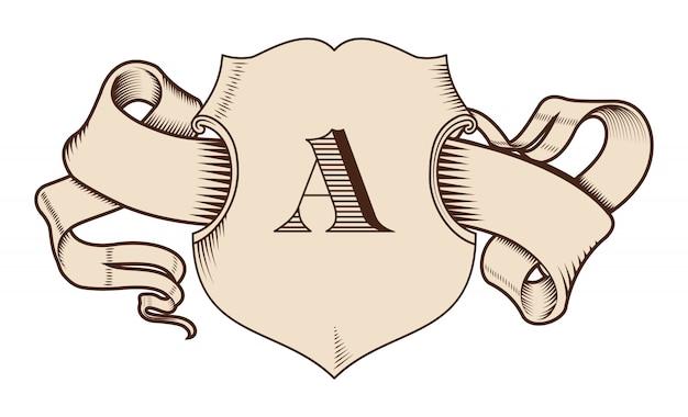 Escudo y cinta en el antiguo estilo gráfico.
