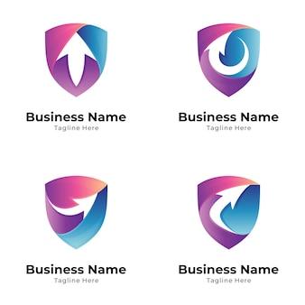 Escudo con colección de logotipos de flechas