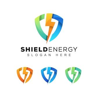 Escudo colorido moderno o logotipo de energía segura