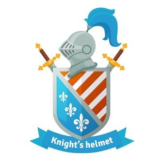 Escudo de armas medieval con casco de caballero