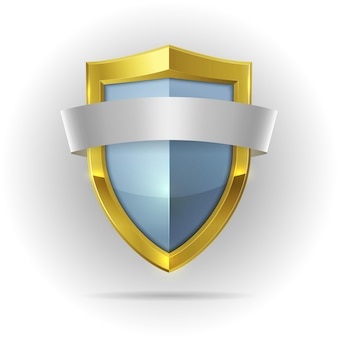 Escudo de guardia con emblema de cinta en blanco