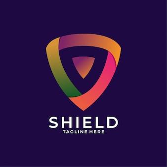 Escudo de diseño de logotipo colorido