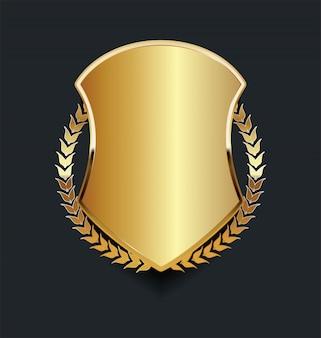 Escudo dorado con corona de laurel dorado.