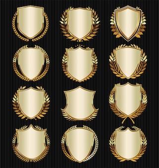 Escudo dorado y negro con laureles dorados