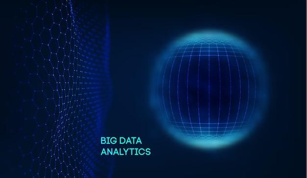 Escudo de esfera azul sobre fondo oscuro datos coloridos. fondo azul tecnología futurista. campo de energía de esfera abstracta. eps 10