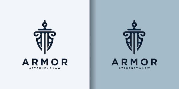 Escudo espada bufete de abogados diseños de logotipos de empresas de seguridad