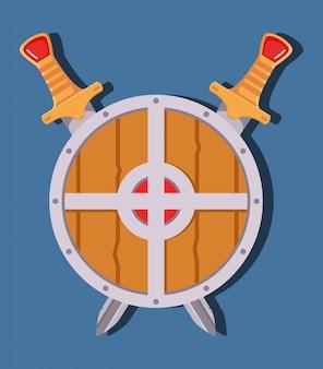 Escudo de espada medieval juego de arma de dibujos animados.