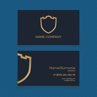 Escudo, guardia, protección, caja fuerte y tarjeta de seguridad con logo dorado.