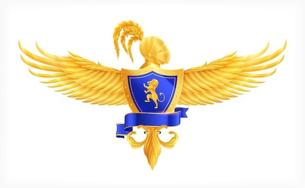 Escudo heráldico con alas y casco