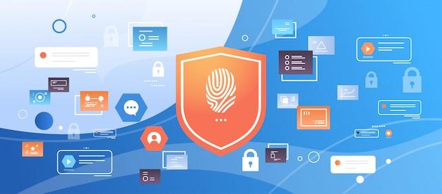 Escudo con huella digital escaneo computadora digital tecnología de datos seguridad privacidad acceso biométrico