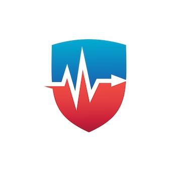 Escudo con latido del corazón medical logo vector