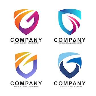 Escudo + letra g logo set