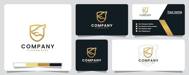 Escudo de lobo, dorado, lujo, inspiración para el diseño de logotipos