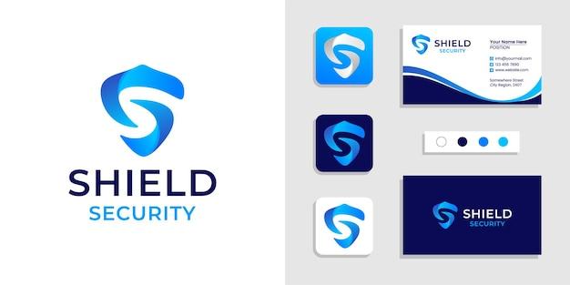 Escudo logo inicial letra s y plantilla de tarjeta de visita