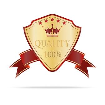 Escudo de lujo en oro y rojo con etiqueta de calidad.