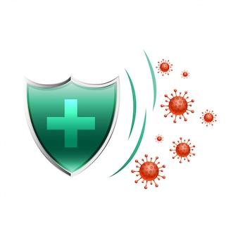 Escudo médico de salud que protege el virus para ingresar