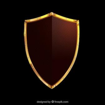 Escudo medieval con borde dorado