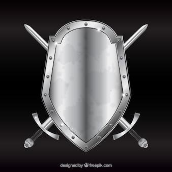 Escudo de metal con espadas