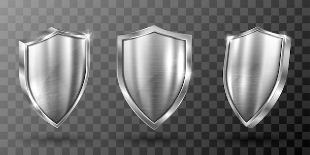 Escudo de metal con marco de acero realista