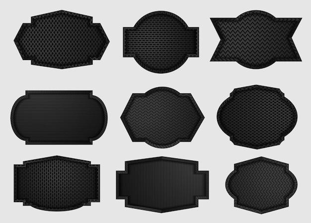 Escudo de metal con textura de fibra de carbono de rejilla geométrica negra oscura