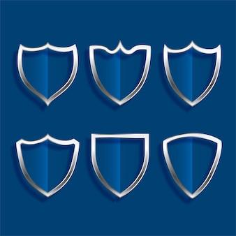 Escudo metálico insignias iconos brillantes escenografía