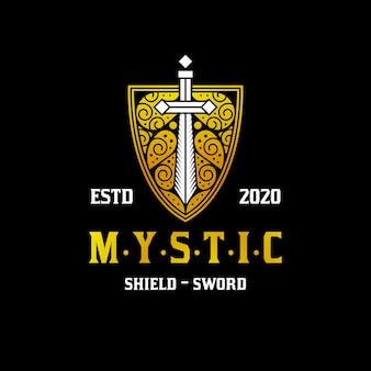 Escudo místico espada logo dorado