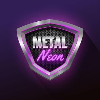 Escudo de neón y metal brillante con rejilla.
