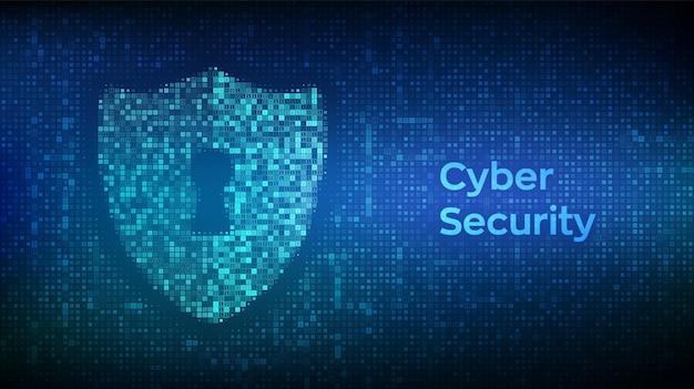 Escudo con ojo de cerradura hecho con código binario. proteger y ciberseguridad del concepto seguro.