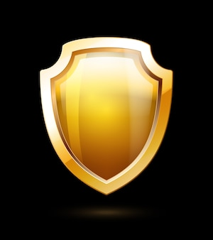 Escudo de oro vacío aislado