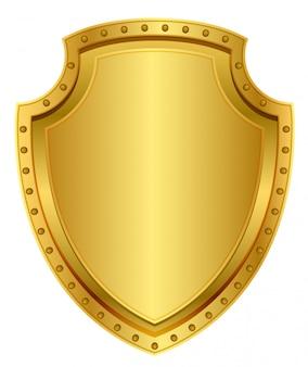 Escudo de oro vacío. insignia de metal en blanco con remaches