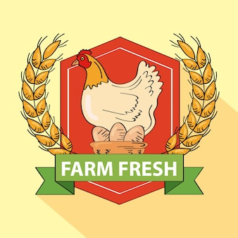 Escudo de productos agrícolas frescos con gallina