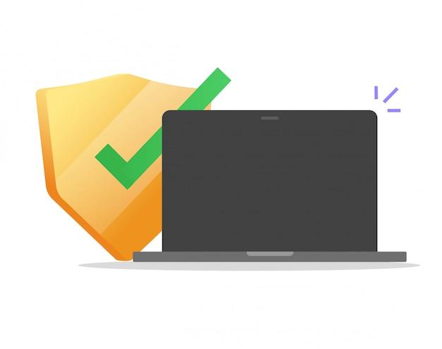 Escudo de protección de la computadora de seguridad en línea en la pantalla vacía en blanco del portátil