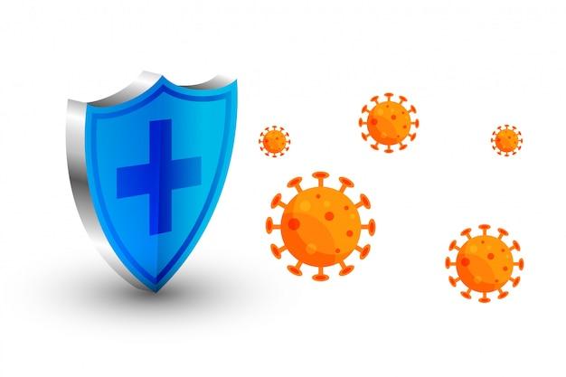 Escudo de protección contra coronavirus que detiene el virus para ingresar
