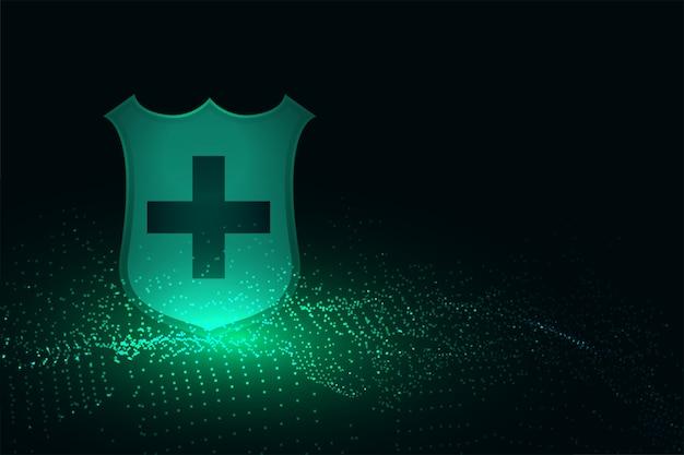 Escudo de protección médica con fondo de signo cruzado