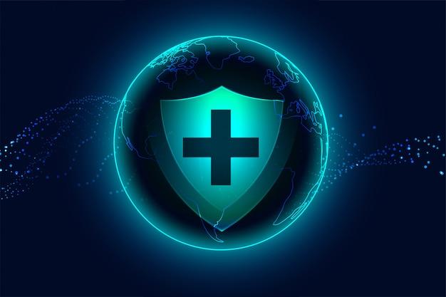 Escudo de protección médica sanitaria con signo de cruz