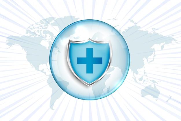 Escudo de protección médica con signo de cruz y mapa mundial