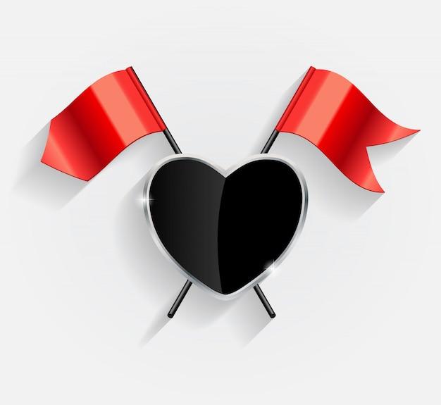 Escudo protector del corazón con la ilustración de banderas rojas