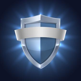 Escudo que brilla intensamente con la insignia de seguridad de la cinta en blanco